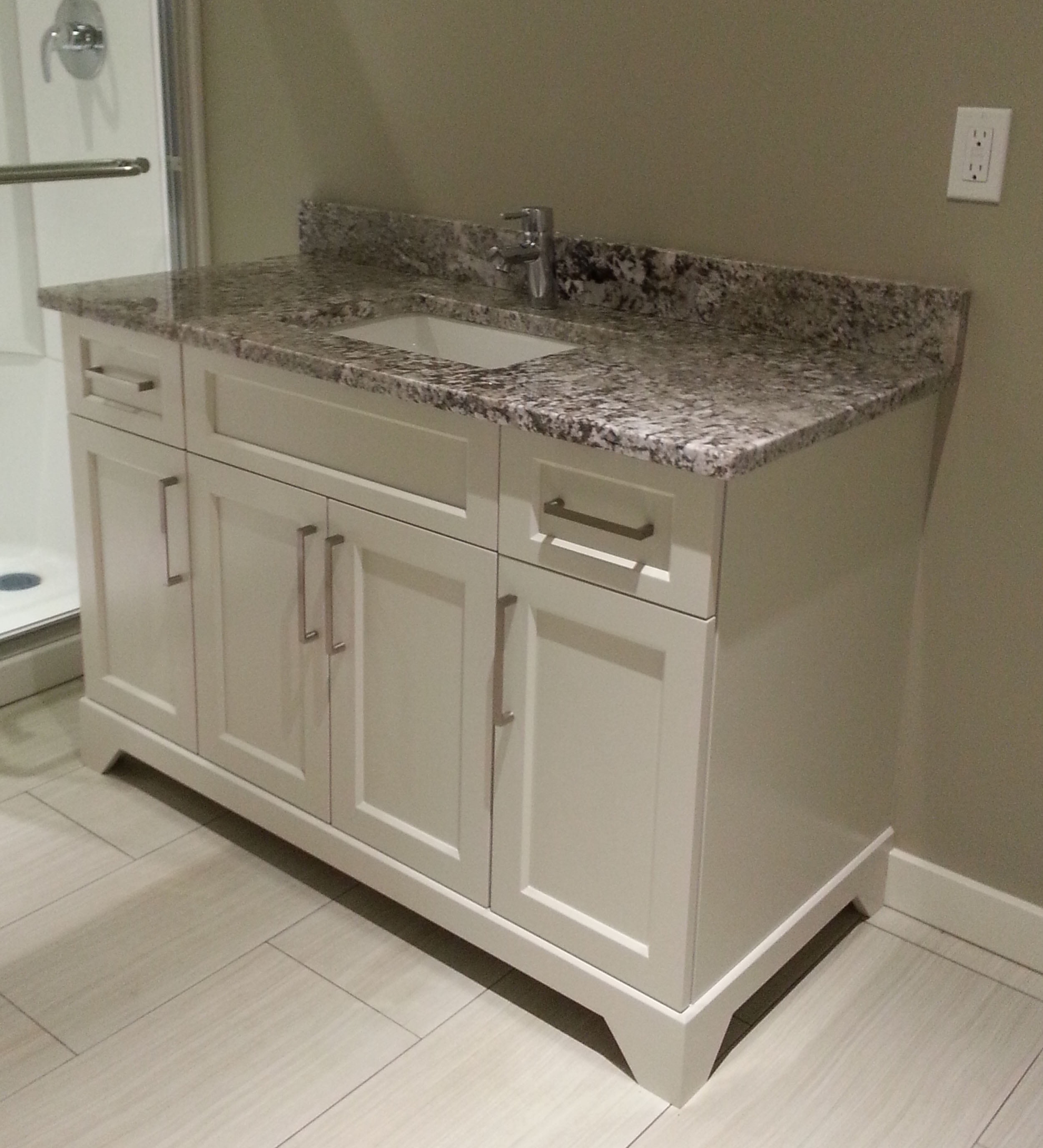 Powder Room Vanity with Granite Countertop